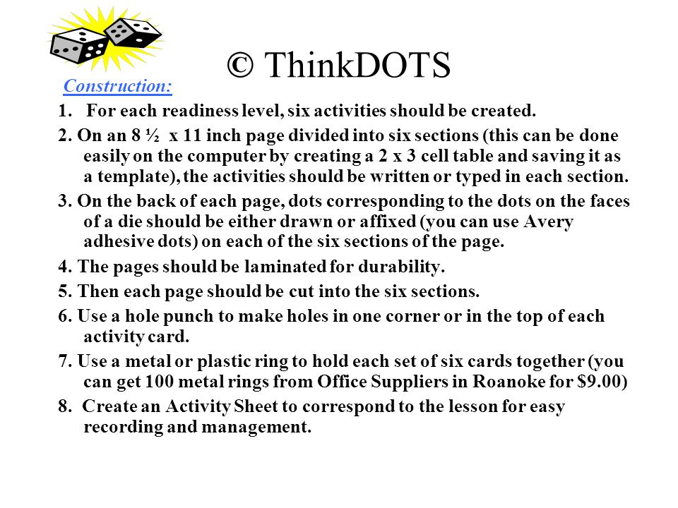 © ThinkDOTS Construction: