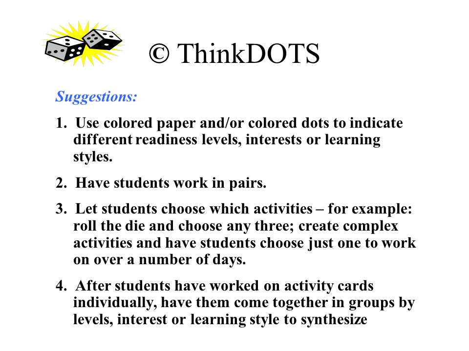 © ThinkDOTS Suggestions: