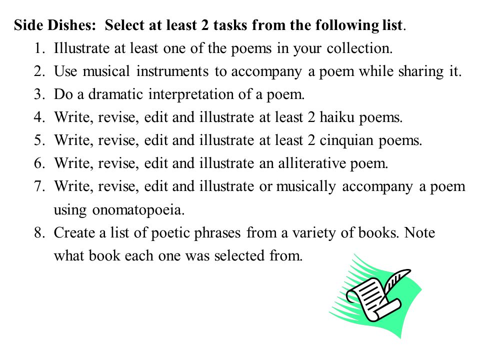 Side Dishes: Select at least 2 tasks from the following list.