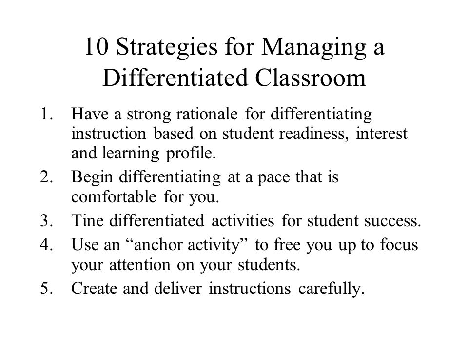 10 Strategies for Managing a Differentiated Classroom