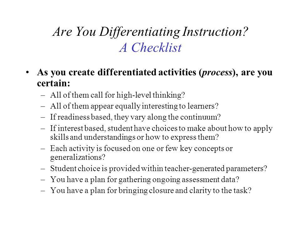 Are You Differentiating Instruction A Checklist