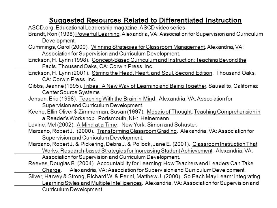 Suggested Resources Related to Differentiated Instruction
