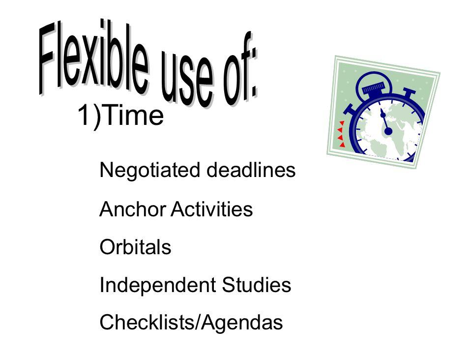 Time Negotiated deadlines Flexible use of: Anchor Activities Orbitals