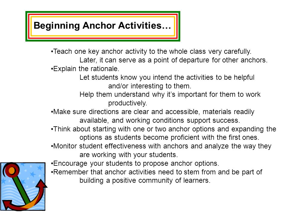 Beginning Anchor Activities…