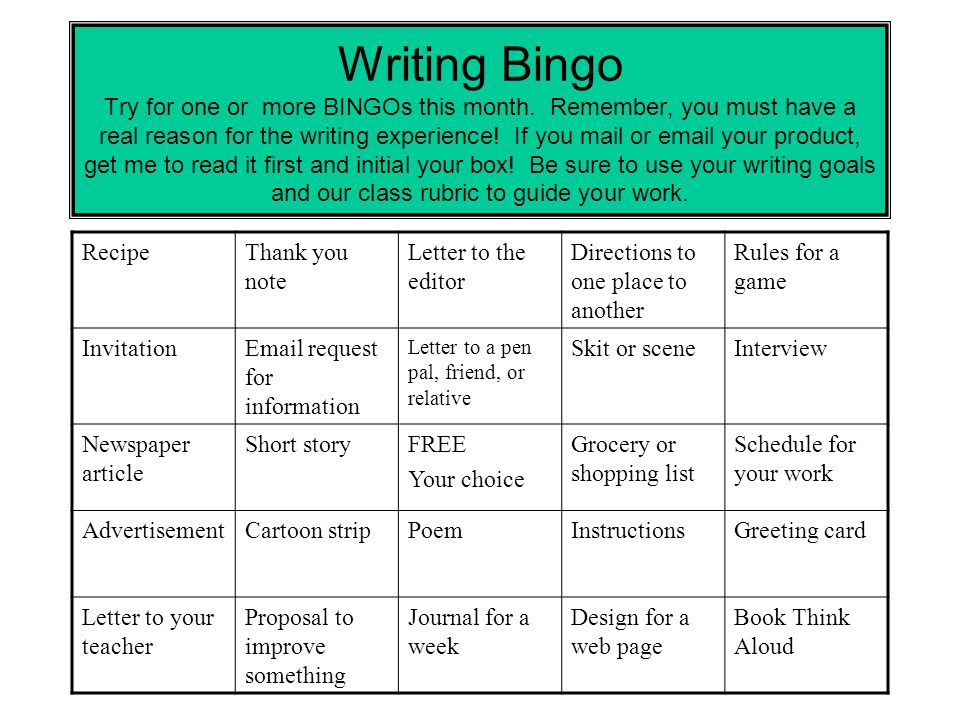 Writing Bingo Try for one or more BINGOs this month