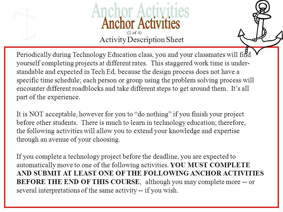 Anchor Activities Activity Description Sheet