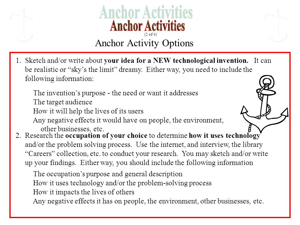 Anchor Activity Options