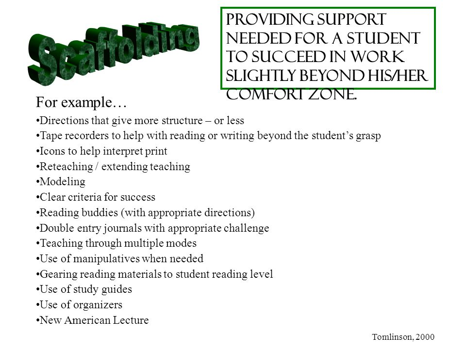 Providing support needed for a student to succeed in work slightly beyond his/her comfort zone.