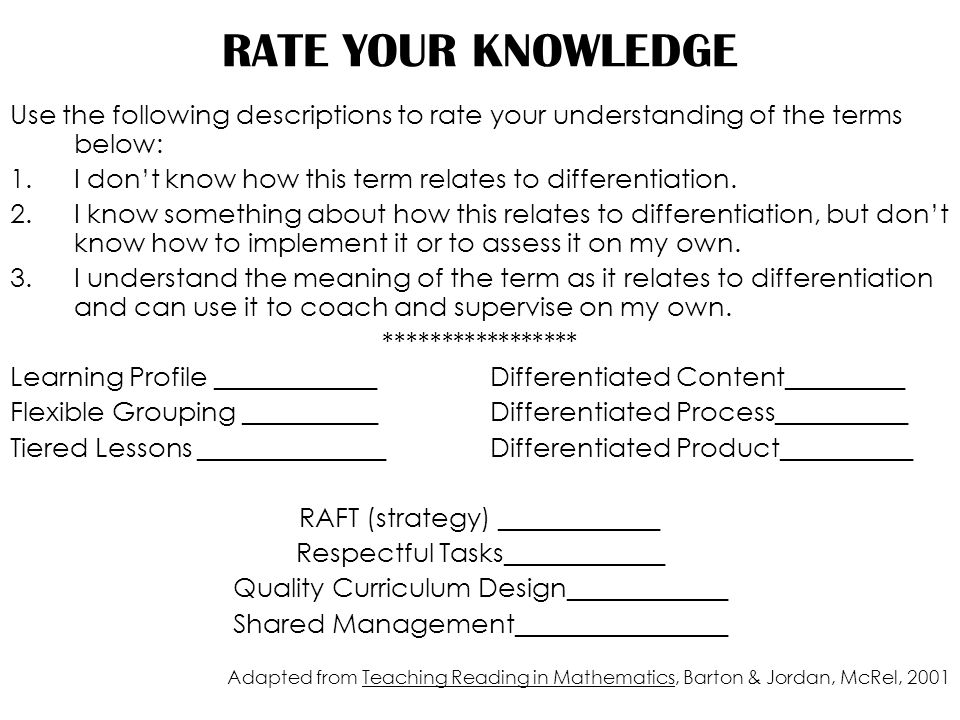 RATE YOUR KNOWLEDGE Use the following descriptions to rate your understanding of the terms below: