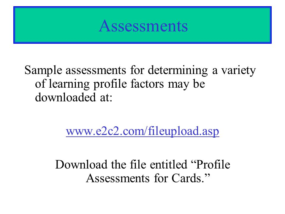Download the file entitled Profile Assessments for Cards.