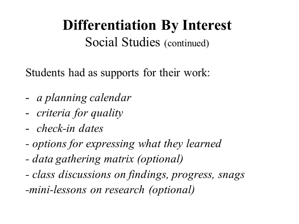 Differentiation By Interest Social Studies (continued)