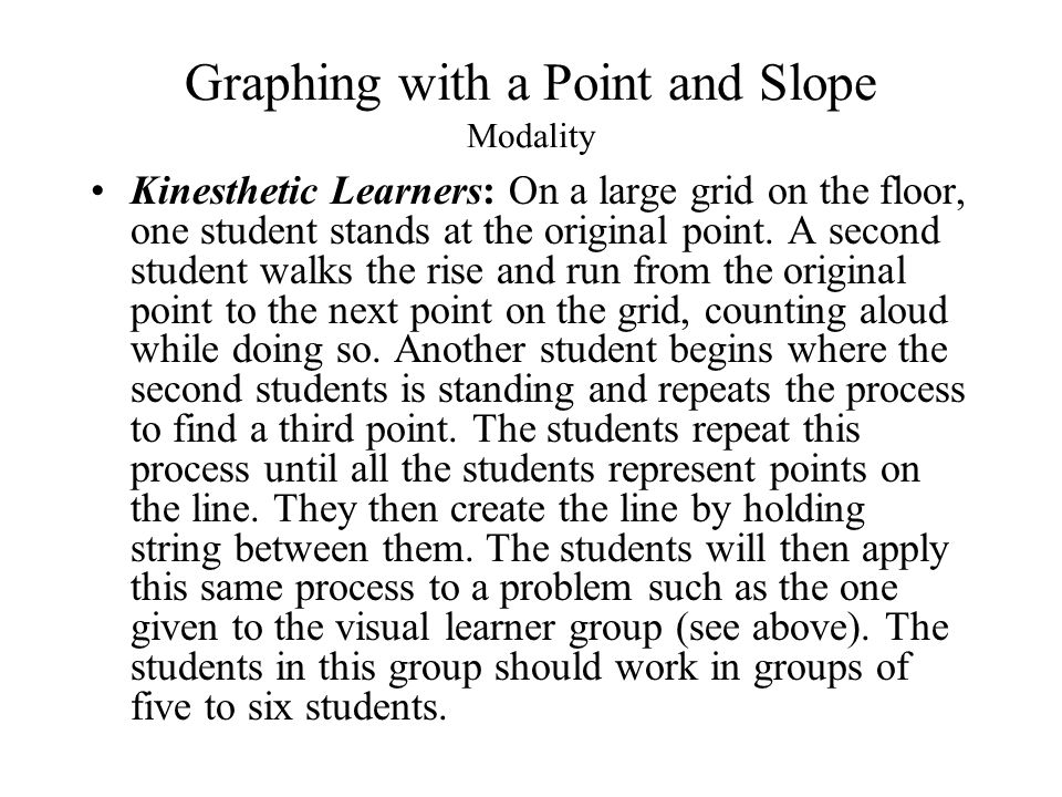 Graphing with a Point and Slope Modality