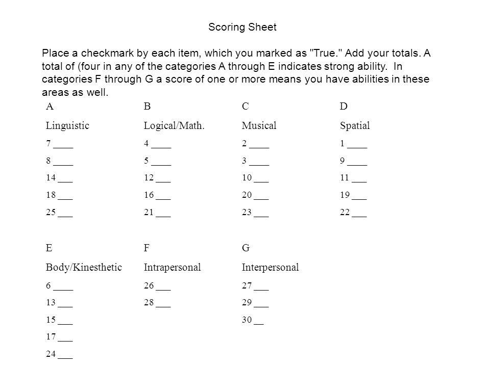 Linguistic Logical/Math. Musical Spatial
