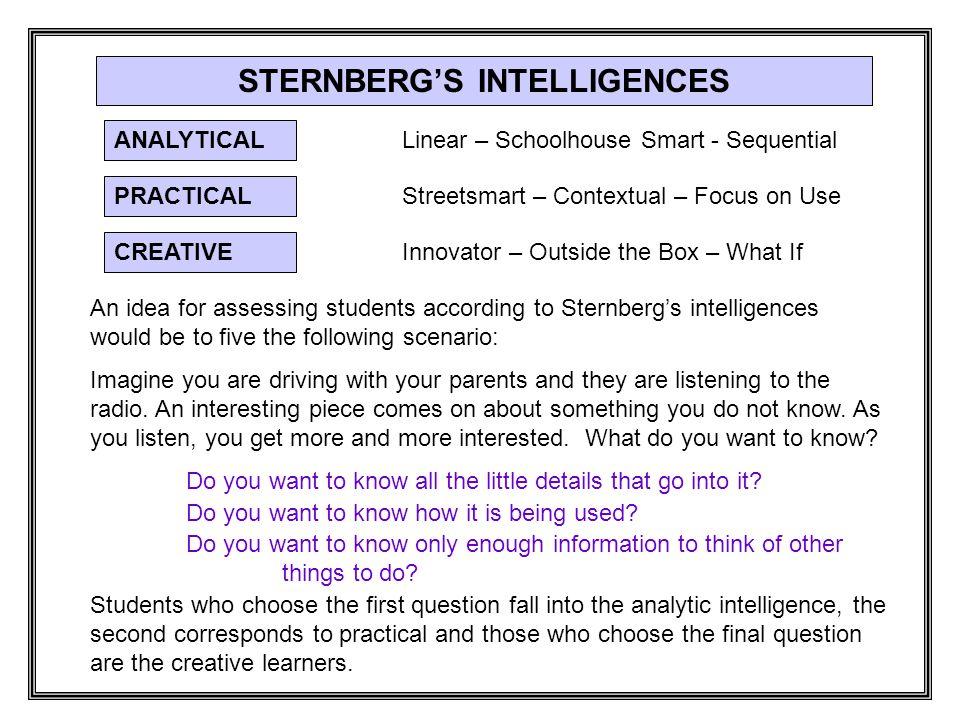 STERNBERG'S INTELLIGENCES