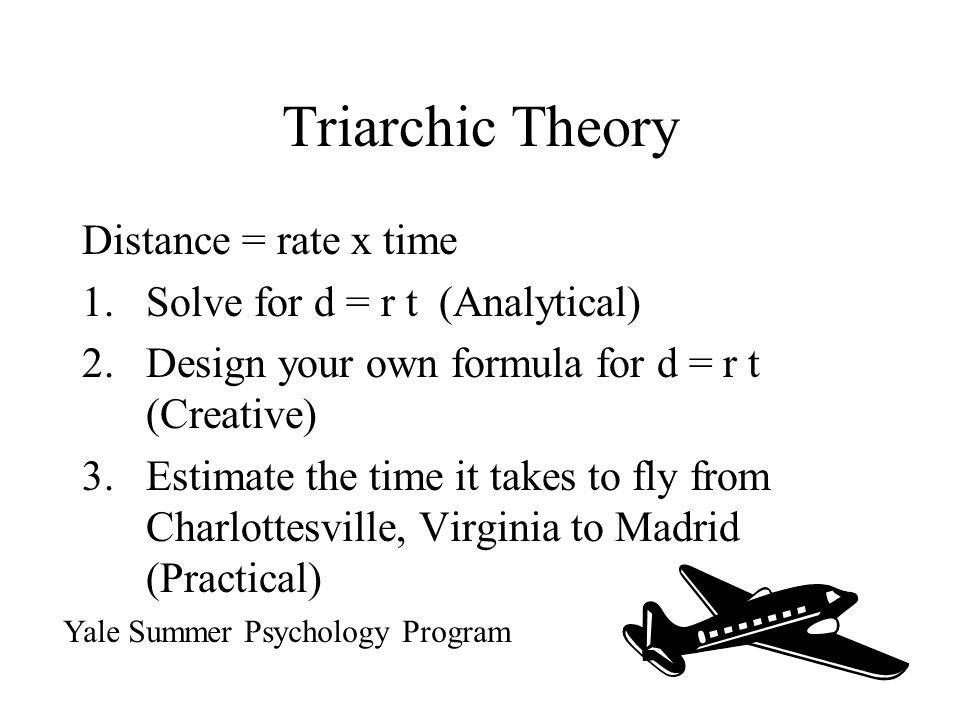 Triarchic Theory Distance = rate x time Solve for d = r t (Analytical)