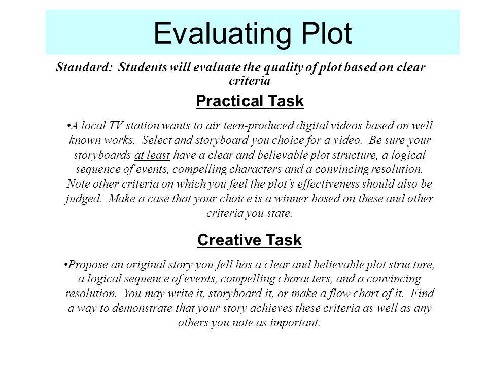Evaluating Plot Practical Task Creative Task
