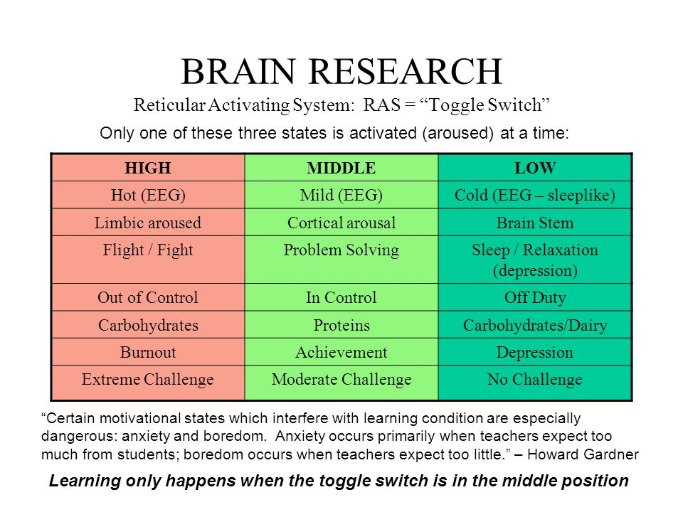 BRAIN RESEARCH Reticular Activating System: RAS = Toggle Switch