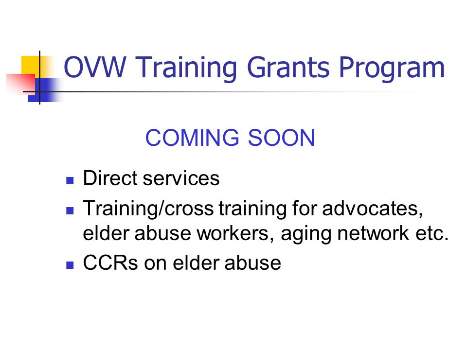 OVW Training Grants Program