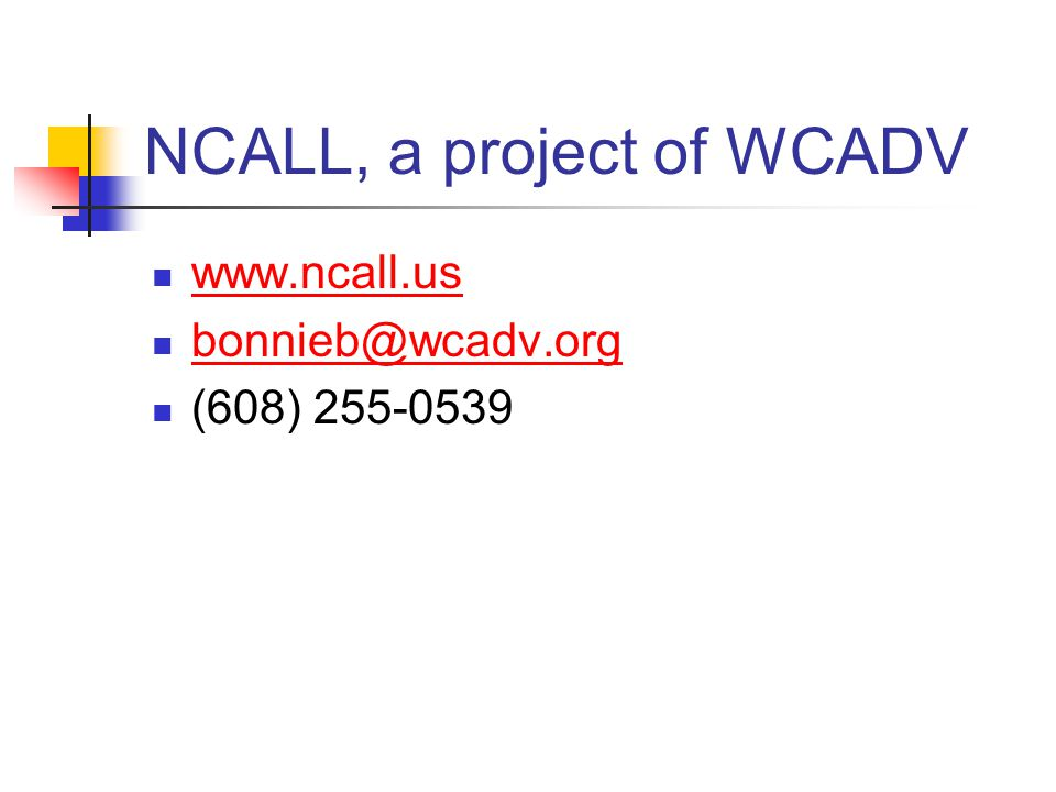 NCALL, a project of WCADV