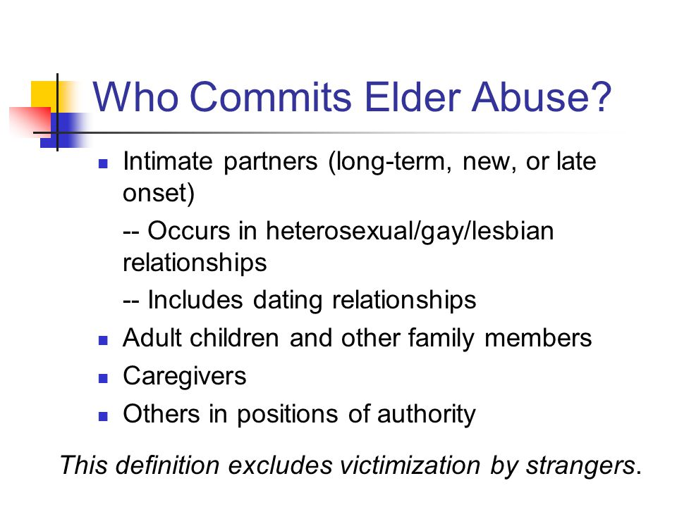 Who Commits Elder Abuse
