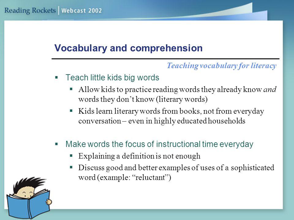 Vocabulary and comprehension