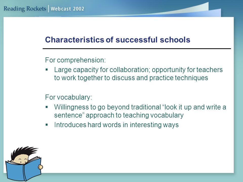 Characteristics of successful schools