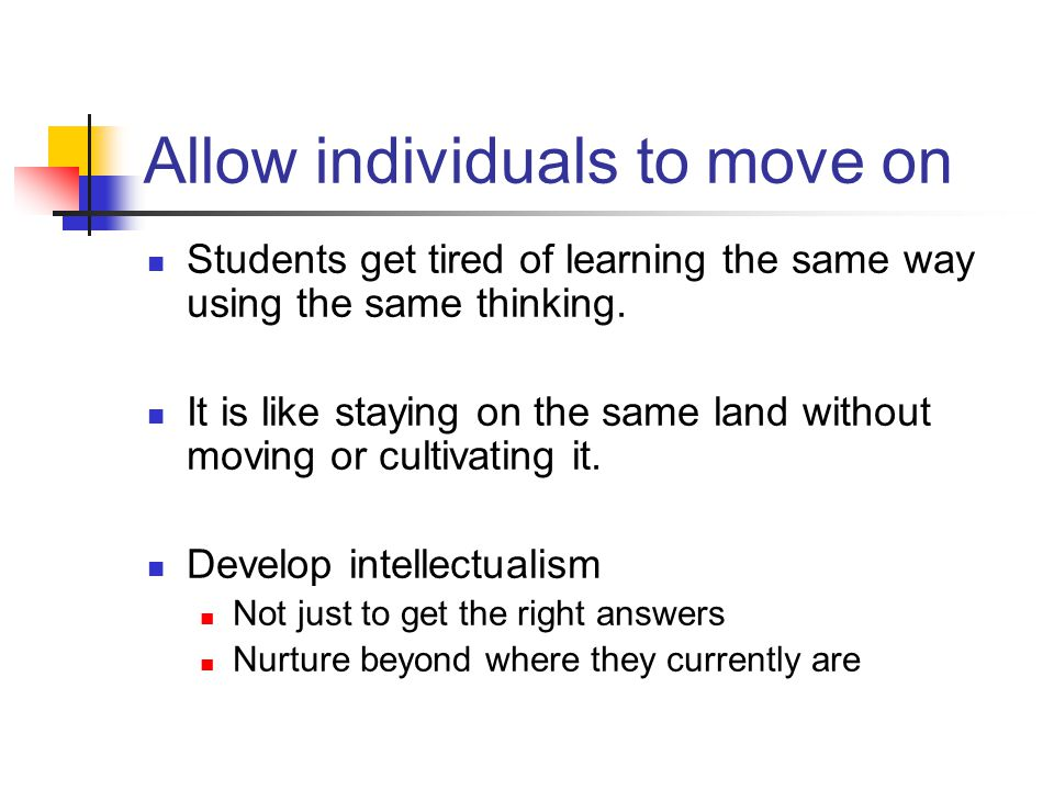 Allow individuals to move on