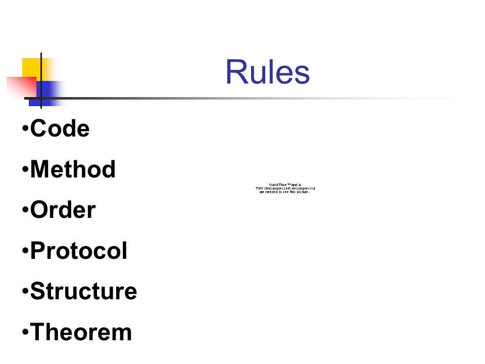 Rules Code Method Order Protocol Structure Theorem