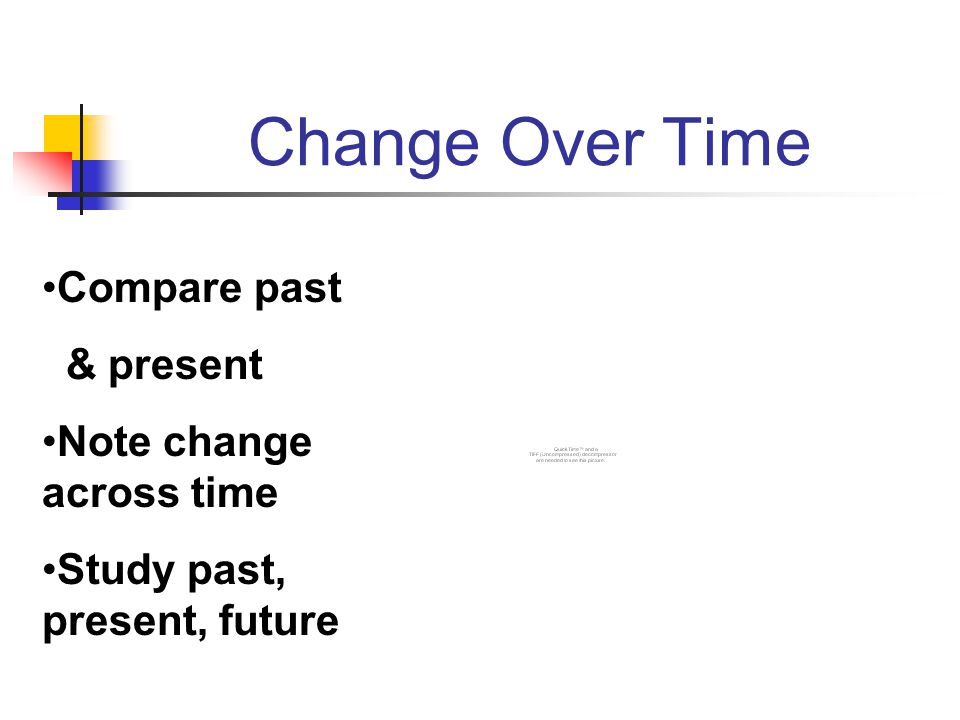 Change Over Time Compare past & present Note change across time