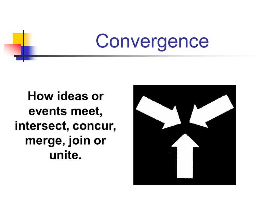 How ideas or events meet, intersect, concur, merge, join or unite.