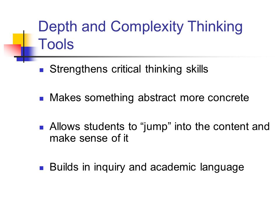 Depth and Complexity Thinking Tools