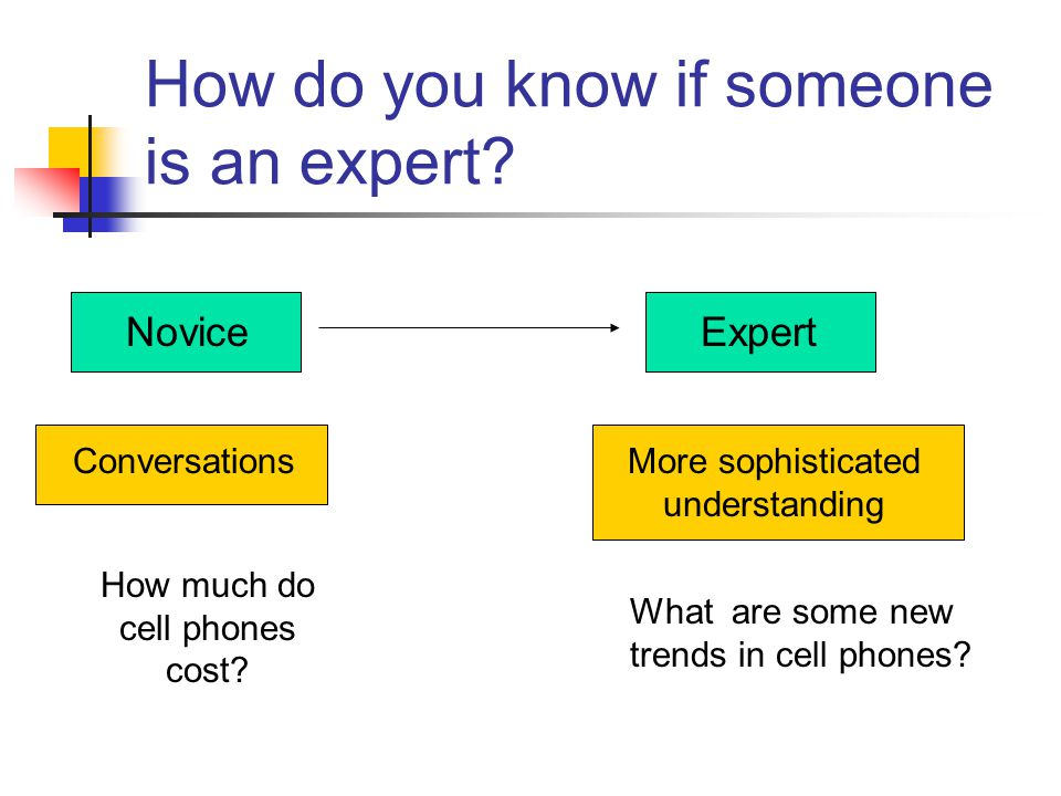 How do you know if someone is an expert