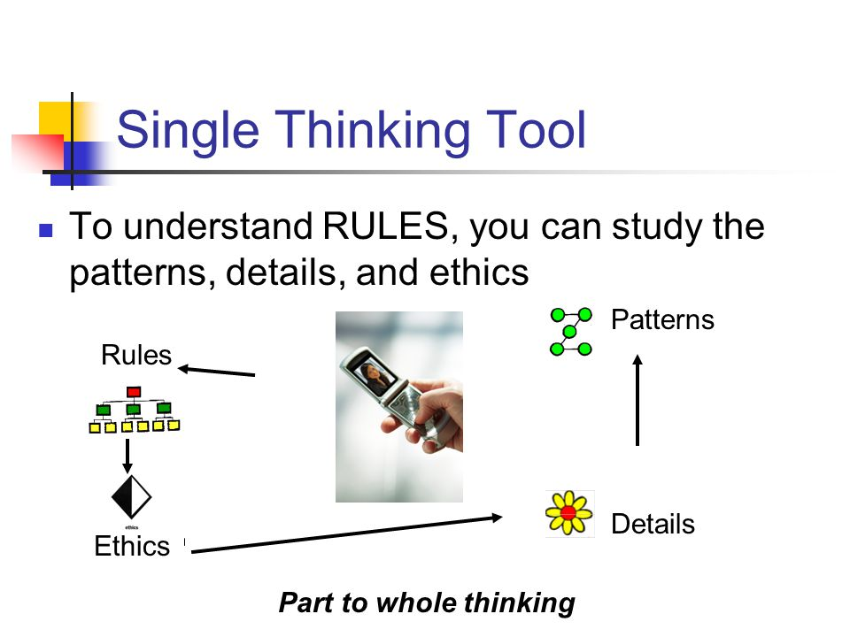Single Thinking Tool To understand RULES, you can study the patterns, details, and ethics. Patterns.