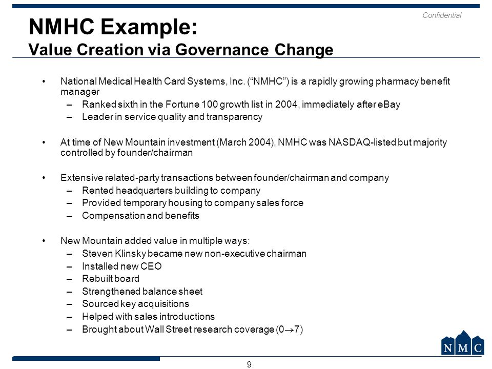NMHC Example: Value Creation via Governance Change