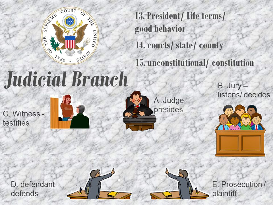 Judicial Branch 13. President/ Life terms/ good behavior