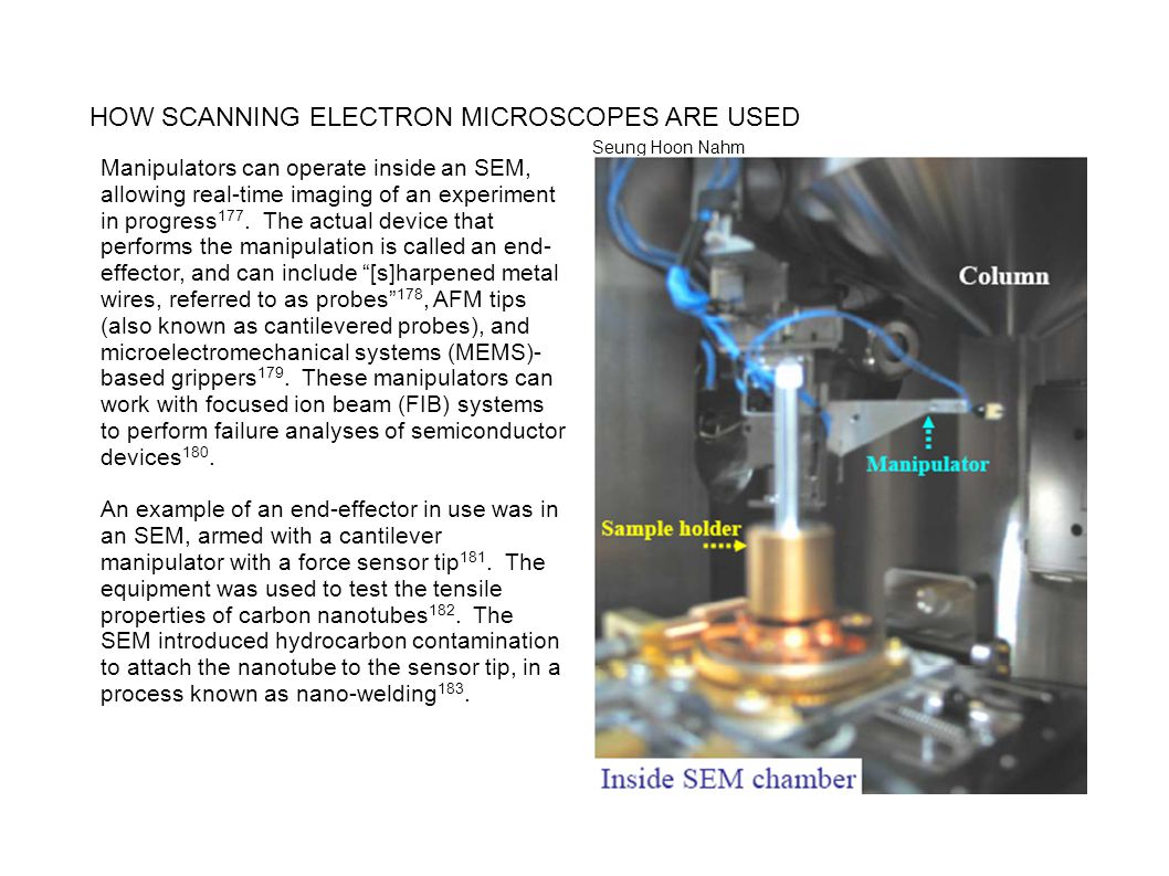 HOW SCANNING ELECTRON MICROSCOPES ARE USED Seung Hoon Nahm