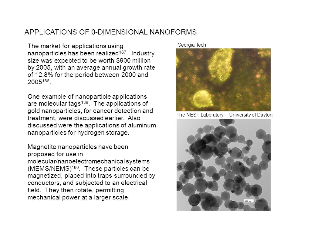 APPLICATIONS OF 0-DIMENSIONAL NANOFORMS