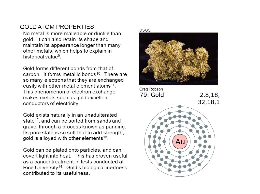 GOLD ATOM PROPERTIES USGS.