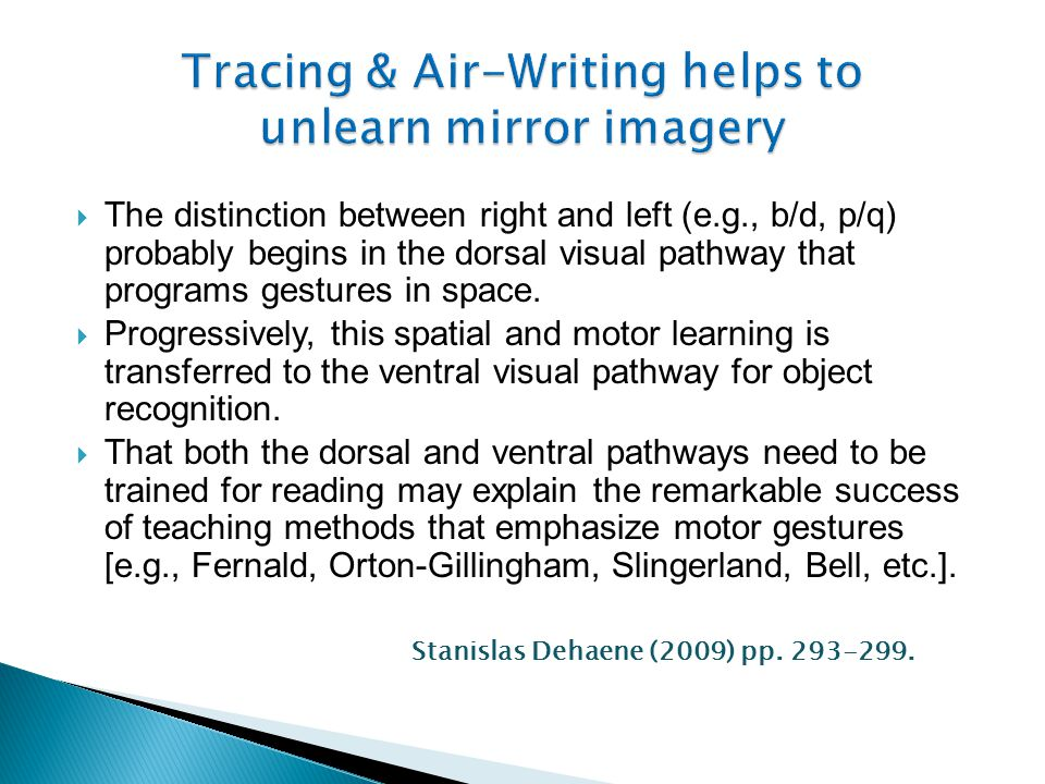 Tracing & Air-Writing helps to unlearn mirror imagery