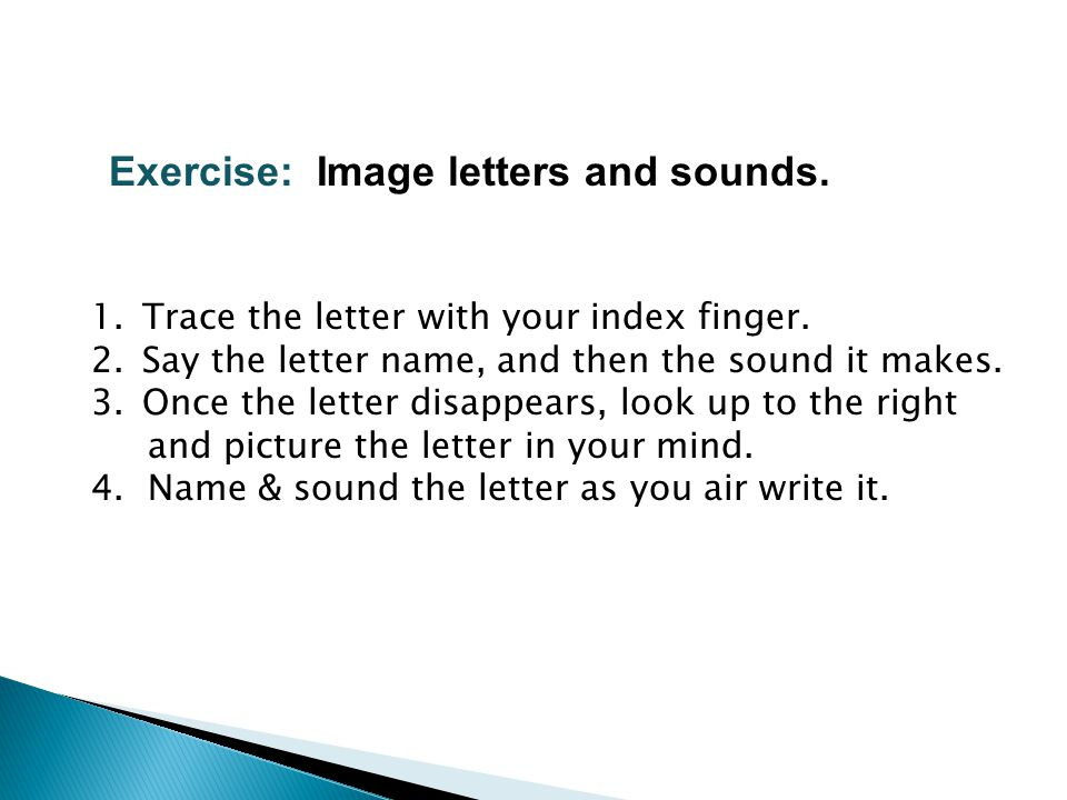 Exercise: Image letters and sounds.