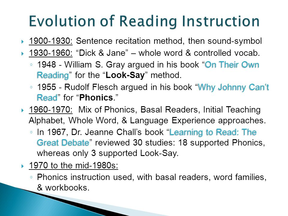 Evolution of Reading Instruction
