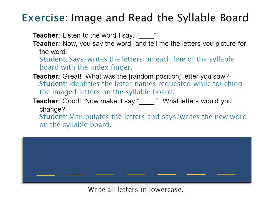 Exercise: Image and Read the Syllable Board