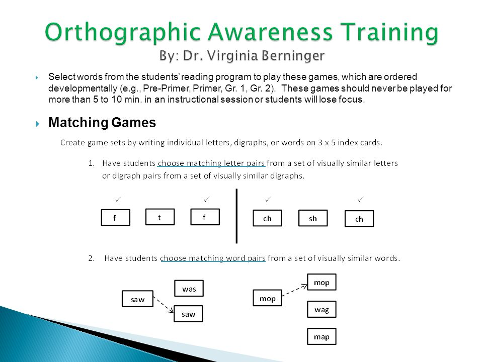 Orthographic Awareness Training By: Dr. Virginia Berninger