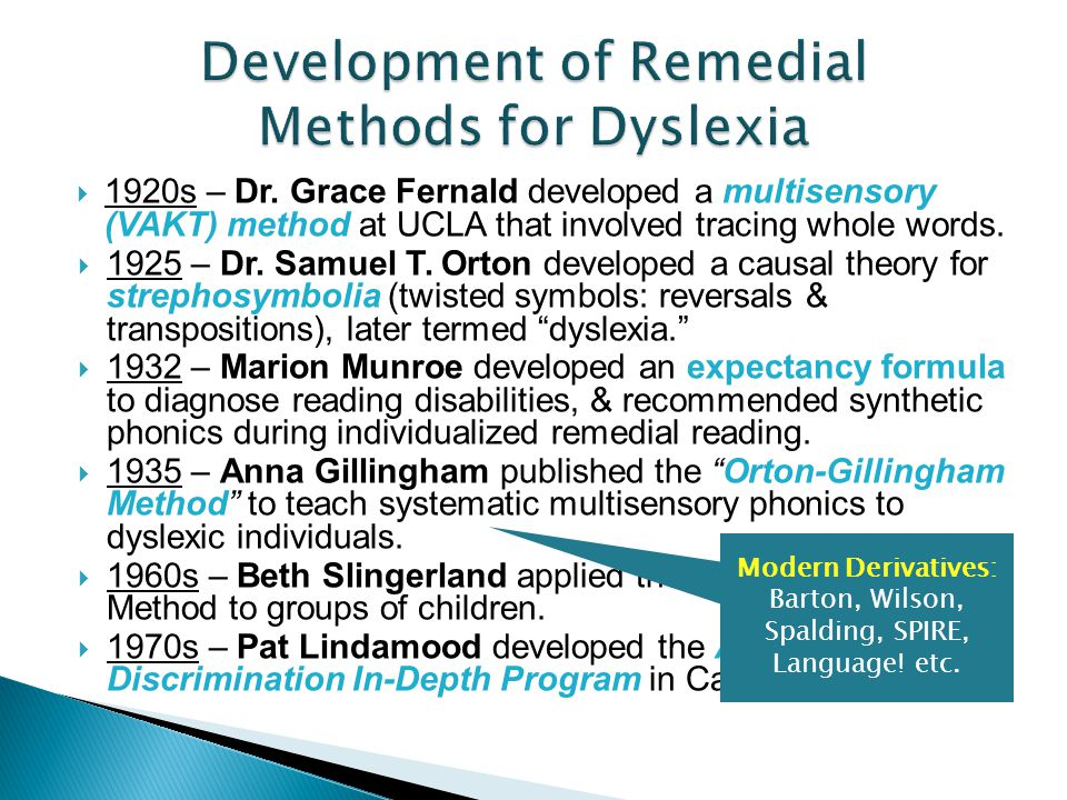Development of Remedial Methods for Dyslexia