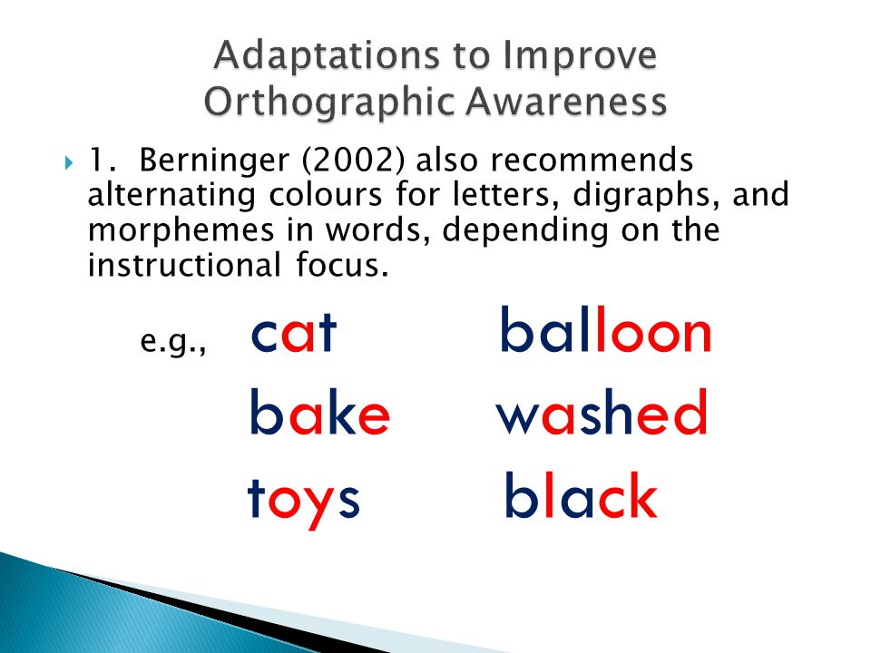 Adaptations to Improve Orthographic Awareness