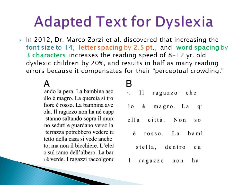 Adapted Text for Dyslexia