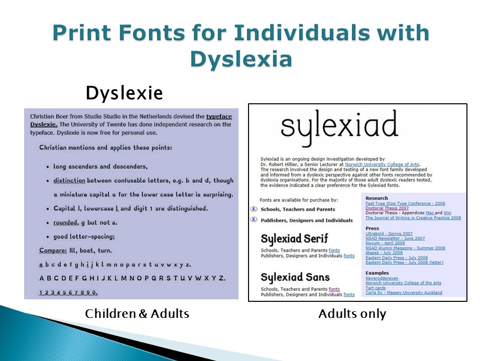Print Fonts for Individuals with Dyslexia