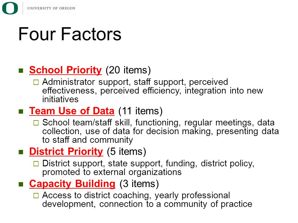Four Factors School Priority (20 items) Team Use of Data (11 items)