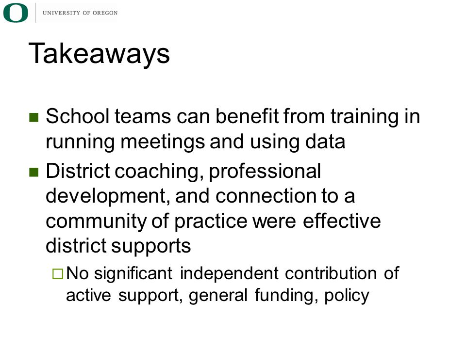 Takeaways School teams can benefit from training in running meetings and using data.