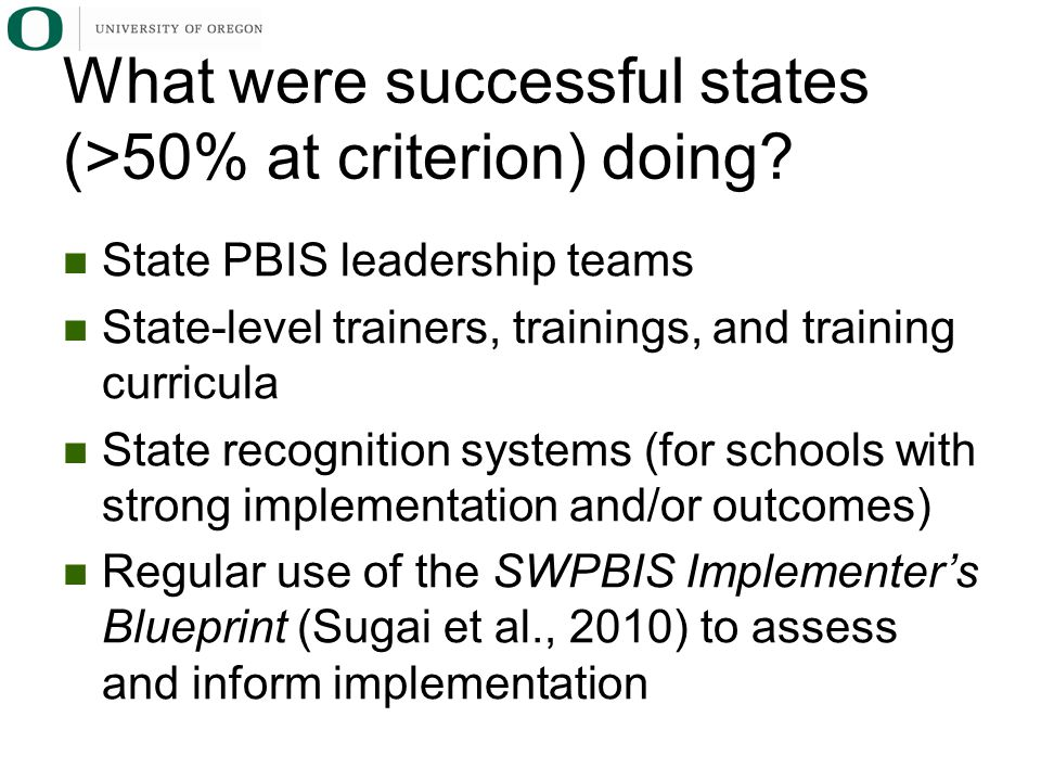 What were successful states (>50% at criterion) doing